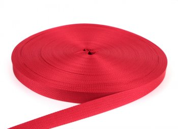 PES Gurtband - 20 mm - rot - 50-Meter-Rolle