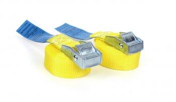 2x Spanngurte 2,5 m - Gelb mit Klemmschloss - DIN EN 12195-2 -PES