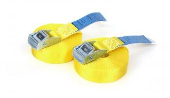 2 x Spanngurte 6,0 m - Gelb mit Klemmschloss - DIN EN 12195-2 - PES