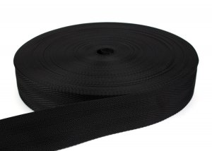 PES Gurtband - 50 mm - schwarz - verstreckt - 50-m-Rolle