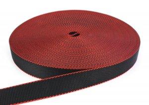 PA Gurtband - 30 mm - 1,7 Tonnen - schwarz/rot - 25-m-Rolle