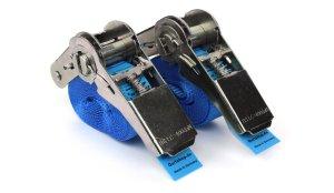 2x Zurrgurte 2,5 m - Blau mit Ratsche - EN 12915-2 - PES