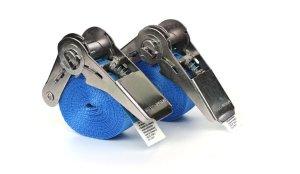 2x Zurrgurte 3,0 m - Blau mit Ratsche - EN 12195-2 - PES