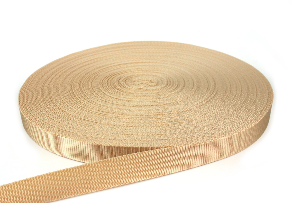 Gurtband 25 mm - PP - beige - 50-m-Rolle