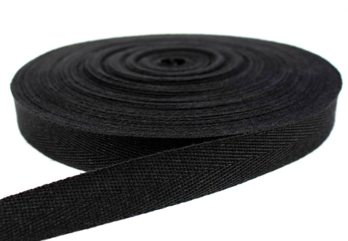 Flachsgurt 100 % thermisch verstreckt - 29 mm - schwarz 50 m