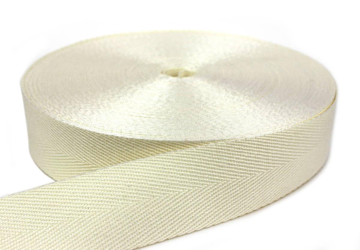 Flachsgurt 100 % thermisch verstreckt - 49 mm - gebleicht 50 m