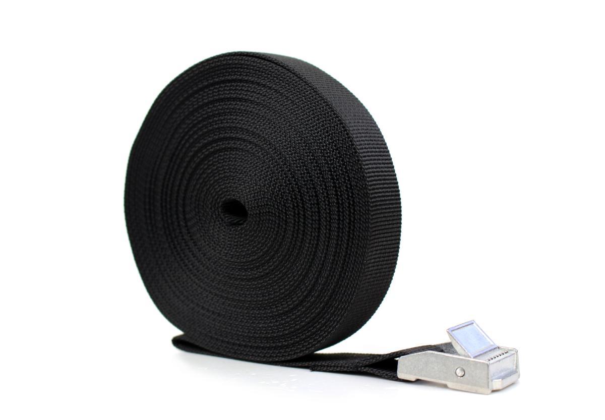 Spanngurt mit Klemmschloss - 8,0 m - Farbe schwarz - PES