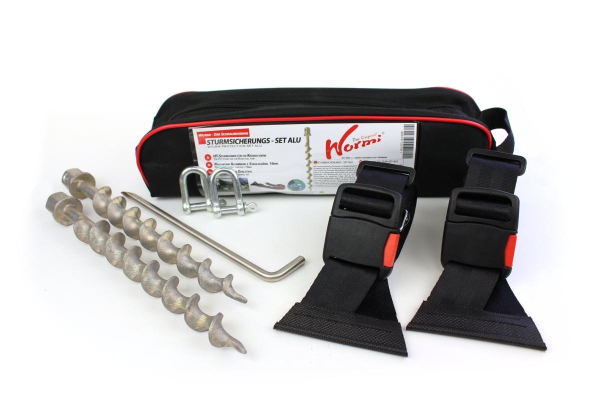 HT-Sturmleine Keder Schwarz - Wurmi Set Aluminium